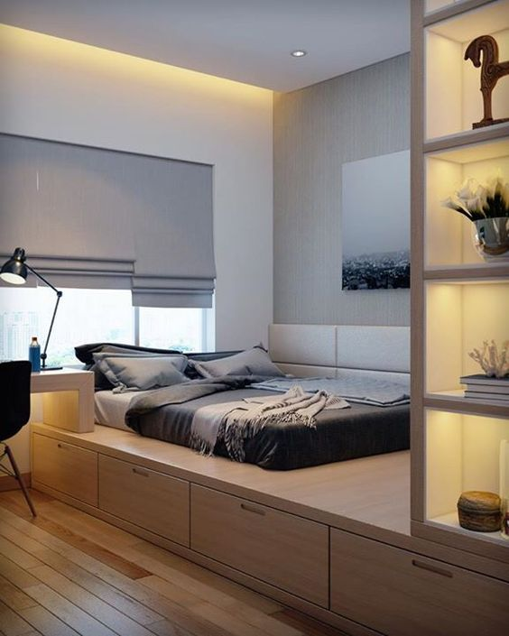 minimalist bedroom, wooden bed platform, storage under, white wall, white curtain, wooden built in study table, wooden shelves