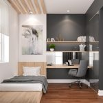 Minimalist Bedroom, Wooden Floor, Grey Wall, White Wall, Wooden Bed Platform, Wooden Headboard, Wooden Slats On The Ceiling, Wooden Floating Table And Shelves, Grey Chair