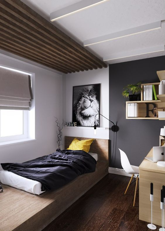 minimalist bedroom, wooden floor, grey wall, white wall, wooden slabs ceiling, wooden bed platform along the wall, floating shelves, wooden table, white midcentury chair