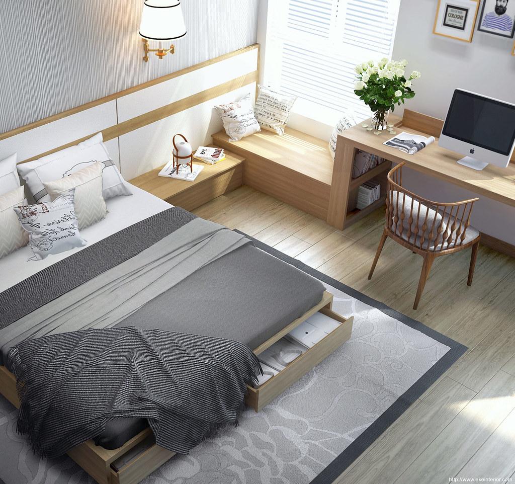 minimalist bedroom, wooden floor, wooden bed platform with storage, wooden side table, wooden window nook, window study table, wooden chair, white pendant