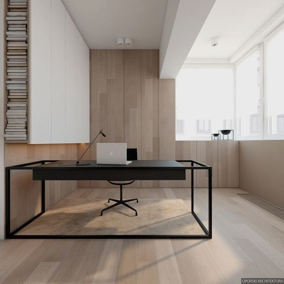 minimalist study, wooden floor, wooden wall, white wooden cabinet, white ceiling, black study table, black office chair