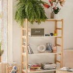 Minimalist Wooden Shelves, Off White Wall, Wooden Floor, Brown Rug, Bamboo Stool, Rattan Basket