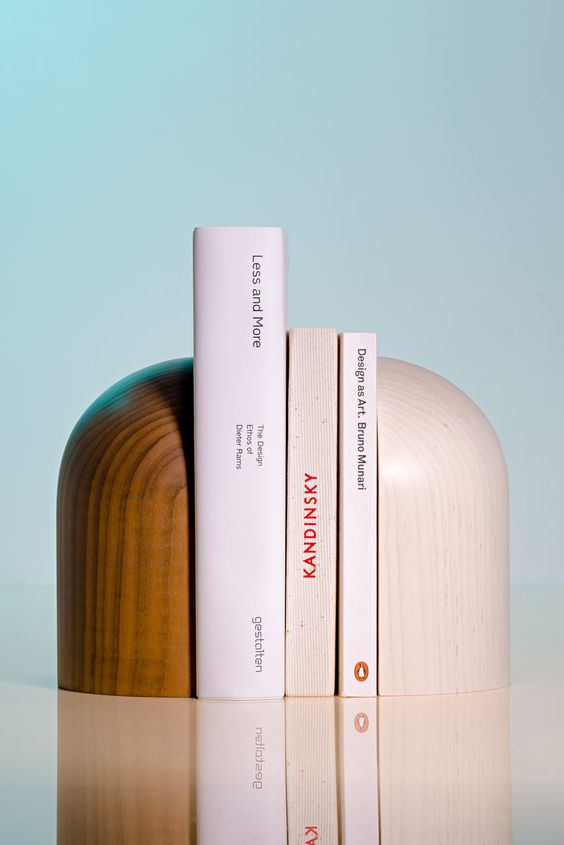 netural colored modern book ends with curve