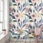 Neutral Pastel Colored Flower Wallpaper, Wooden Floor, Green Table, Wired Chair