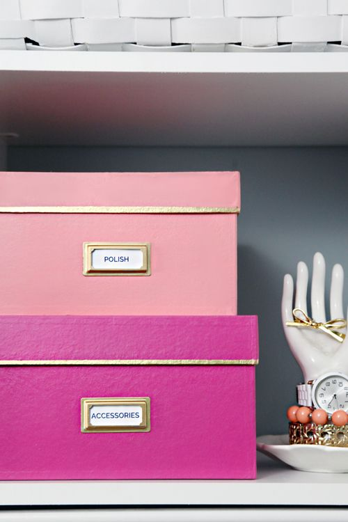 pink boxes with different shade for storage