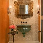 Powder Room, Beige Floor, Tiny Brown Wall Tiles, Orange Wall Tiles, Framed Mirror, Green Floating Sink, Sconce,