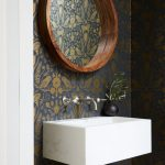 Powder Room, Wallpaper, Wooden Frame Round Mirror, White Floating Sink, Silver Faucet