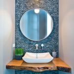 Powder Room, White Wall, Blue Stone Statement Wall, Wooden Slab Floating Vanity, White Sink, Round Mirror, Pendant
