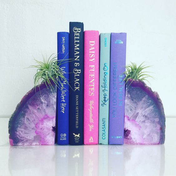 purple stone book ends
