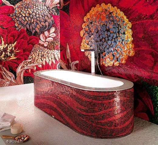 red black tiny mosaic tiles on the tub, white inside, white yellow patterned wall