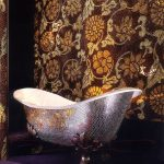 Silver Gold Mosaic Tiles On Tub With Claw Foot, Golden Mosaic Tiles On The Wall, Dark Purple Floor
