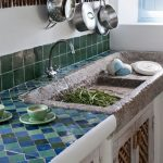 Stone Sink, Blue Green Tiles Kitchen Top, Greeen Tiles Backsplash, White Wall, White Bottom Cabinet