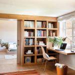 Study Space, Wooden Floor, Floating Wooden Table, Wooden Built In Bookshelves, Rug, Sliding Door, Bedroom,