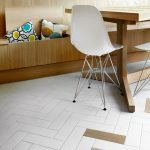 White And Brown Wooden Herringbone Floor Tiles, Wooden Bench, Wooden Table, White Mid Century Modern Chair