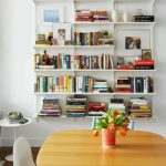 White Floating Bookshelves, White Side Table, Wooden Table, White Chair