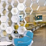 White Hexagonal Metal Box As Wall Partition, Blue Chair, White Coffee Table