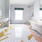 White Pink, Yellow Herringbone Tiles On The Floor And Wall, White Ceiling, White Tub, White Vanity, Mirror