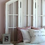 White Wooden Window Headboard, White Wooden Side Table, White Bed Bedding