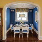 Window Valance White Framed Window White And Blue Chairs Wooden Floor Blue Walls Colorful Valance Round Pedestal Dining Table Chandelier