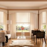 Window Valance Window Beige Sofa Brown Armchairs Glass Coffee Table Cream Curtains White Floor Lamp Glass Side Table