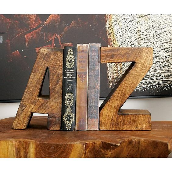 wooden A to Z book ends, wooden slab table