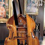 Wooden Cello Bar Storage, Grey Rug, Grey Wall, Chandelier