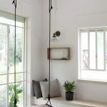 Wooden Board Swing Inside Along The Window, White Floating Window Nook, Rug