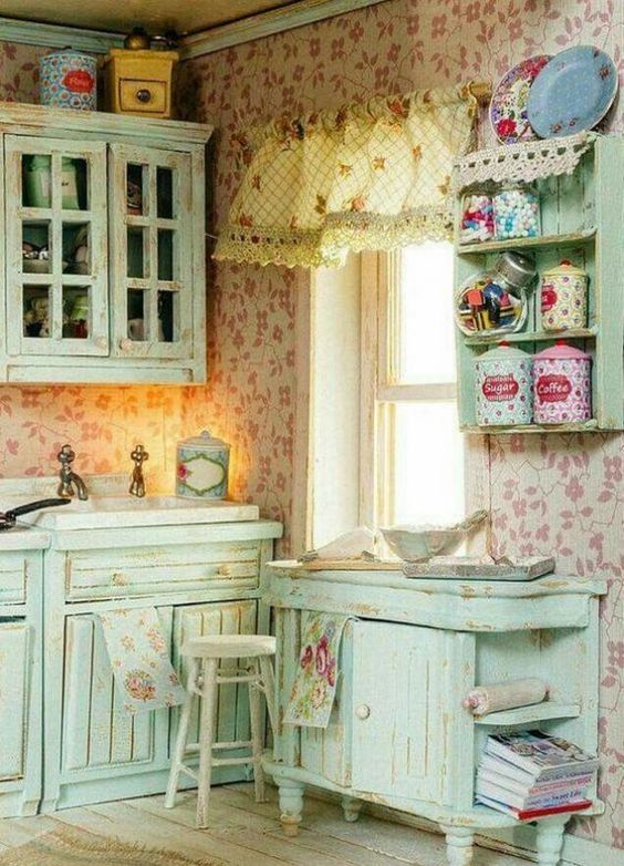 a kitchen, flower wallpaper, soft pastel green cabinet, floating shelves, white wooden floor, shade