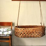 Bamboo Round Baby Box Swing, Grey Floor, Yellow Wall