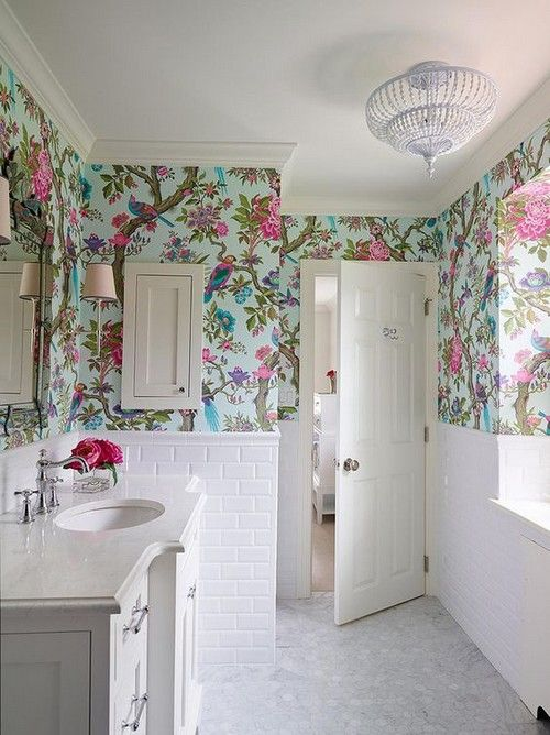 bathroom, white floor, white subway bottom wall, white vanity, white ceiling, flowery wallpaper