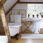 Bathroom, Wooden Floor, White Tub, White Rug, White Sink, White Wall, Sloping Ceiling, Wooden Beams