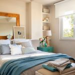 Bedroom, Off White Wall, Built In Wall, Green Side Cabinet, White Covered Table Lamp, Mirror, Blue Bedding, White Shade