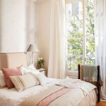 Bedroom, Wooden Floor, White Wall, White Curtain, Pink Bedding, Side Table, Table Lamp, Large Windows