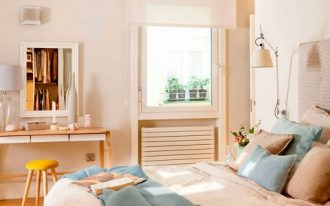 bedroom, wooden floor, white wall, wooden make up table, yellow stool, white blue bedding, white sconce, small glass window, shade