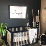 Black Framed Baby Crib, White Fence, White Cushion, White Rug, Wooden Floor, Black Wall, Wooden Rack