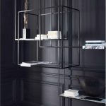 Black Lanky Metal Shelves With Marble Boards