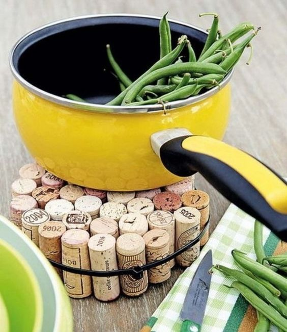 bottle corks for plate pad, yellow pan