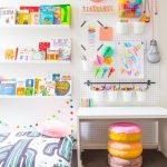 Children's Study Room, White Wall, White Pegboard, White Floating Display Shelves, Grey Ru, Doughnut Stool, White Table