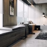 Dark Wooden Bench By The Window, Leather Cushion, Wooden Wall, Window With Shade, Black Rug, Seamlessfloor
