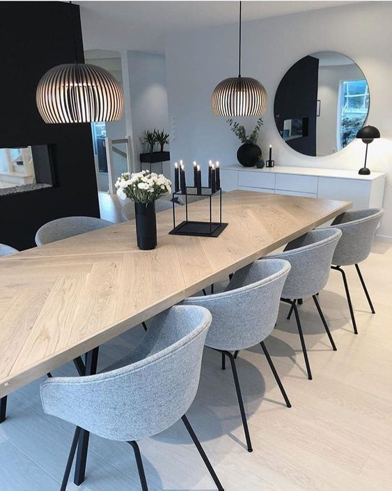 dining room, wooden floor, white wall, black wall, pendant, wooden table, grey modern chairs