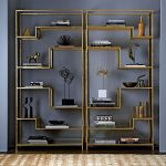 Golden Shelves With Glass Boards, Grey Wall
