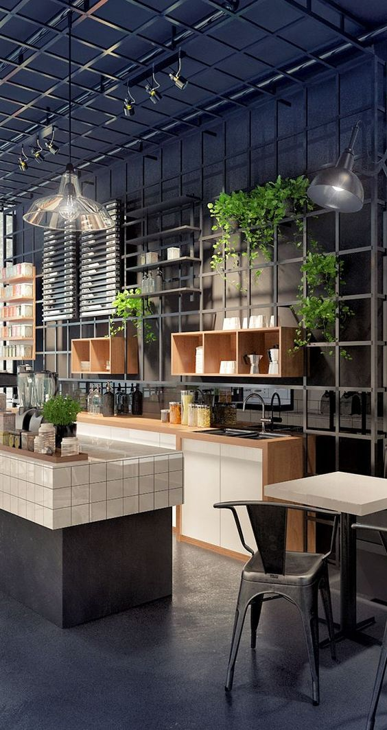 kitchen, black seamless floor, black wall, black rail, floating shelves, floating plants, pendants, white cabinet, black island, white kitchen top