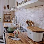 Kitchen, Open Brick Small Tiles Wall, Wooden Top, Wooden Floating Shelves, White Wall