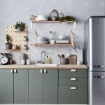 Kitchen, White Floor, Off White Patterned Wall, Sage Green Bottom Cabinet, Wooden Kitchen Top, Silver Fridge