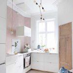 Kitchen, Wooden Floor, White Bottom Cabinet, Pink Wall, White Wall, White Kitchen Top, Pendant
