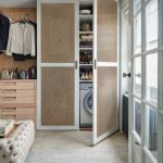 Laundry Cupboard With Rattan Doors, Grey Rug, Tufted Bench, Wooden Cabinet, Grid Sliding Doors With Glass Window