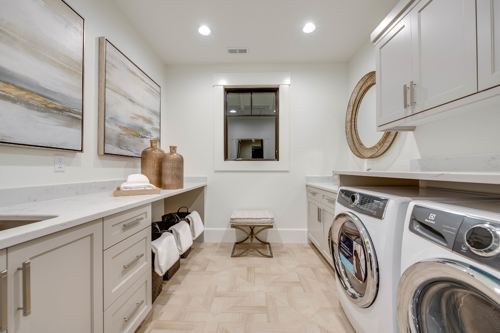 laundry room decorations wall art windows white walls white cabinets round wall mirror washing machine basket bench sink