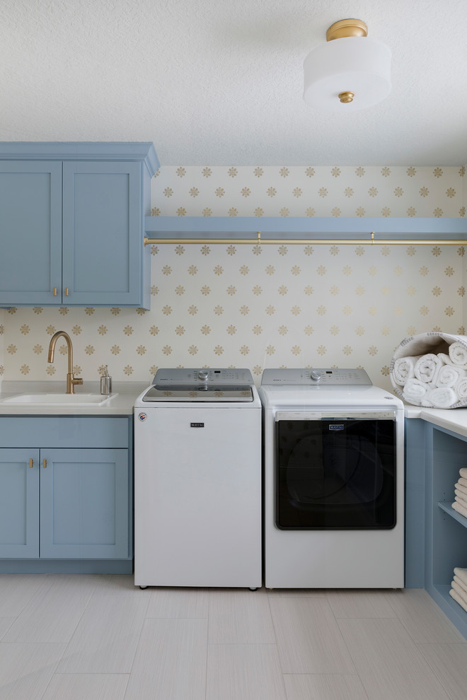 laundry room decorations wallpaper blue cabinet blue self gold rod washing machine dryer shelves towel sink faucet
