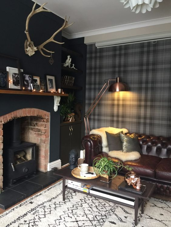 living room, black floor, black accent wall, fire place, built in shelves, leather brown sofa, black coffee table, floor lamp, black plaid wall