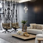 Living Room, Grey Floor, Grey Rug, White Sofa, Low Wooden Coffee Table, Brown Shairs, Black Wall, Pendant, Black Bohemian Curtain